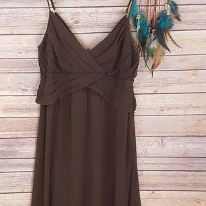 Theory Layna Silk Slip dress Gathered Brown V Neck